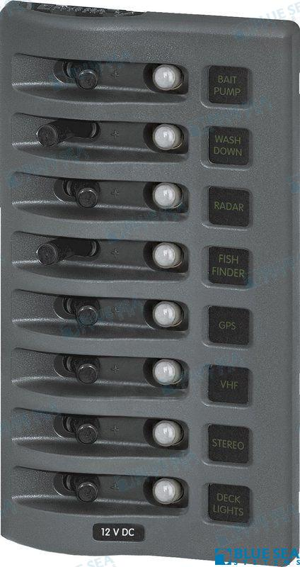 SCHALT-TABLEAU HORIZONTAL 12VDC CLB 8POS GRAU